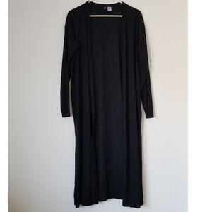 Long Black Ribbed Cardigan - Large